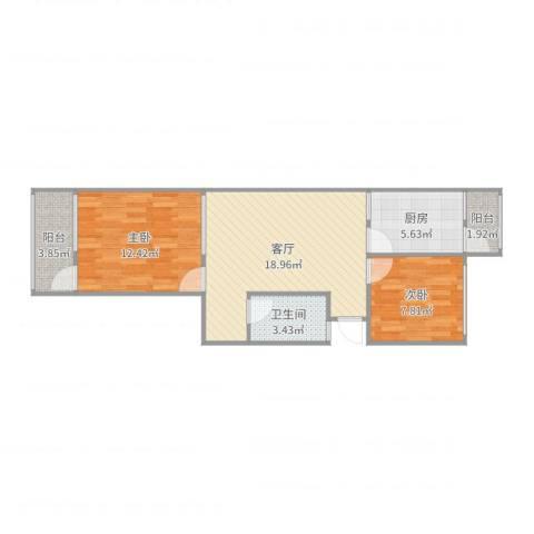 柳云小区2室1厅1卫1厨54.01㎡户型图