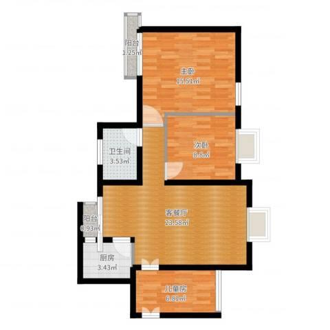 宏林尚品3室2厅1卫1厨80.00㎡户型图
