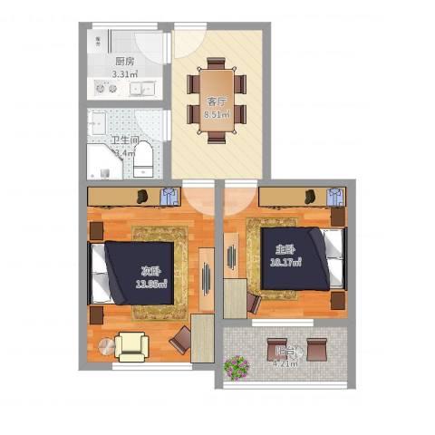 平顺路825弄小区2室1厅1卫1厨54.00㎡户型图