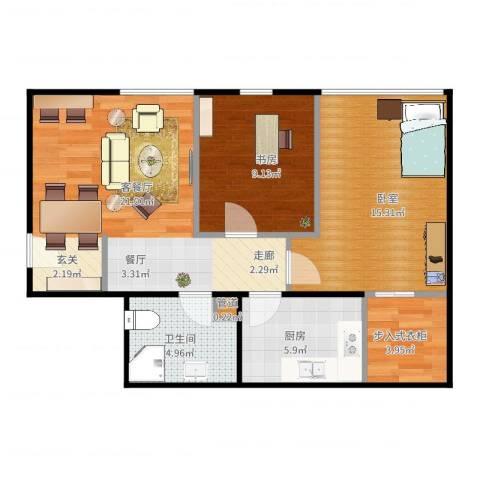 金易城市之光1室2厅1卫1厨82.00㎡户型图