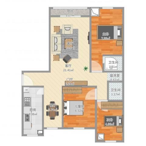滨河花园3室1厅2卫1厨61.00㎡户型图