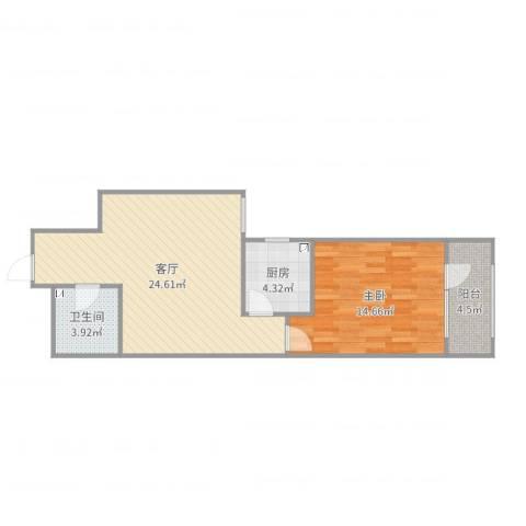 首创・悦都汇1室1厅1卫1厨65.00㎡户型图