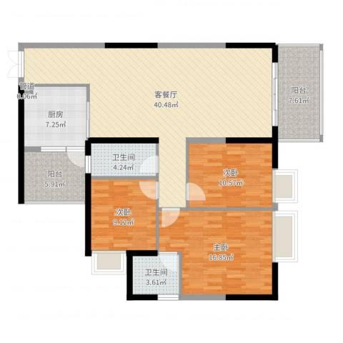 怡景湾三期悦峰3室2厅2卫1厨132.00㎡户型图