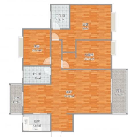 天下荣郡3室1厅2卫1厨139.00㎡户型图