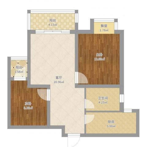 新城域2室1厅1卫1厨73.00㎡户型图