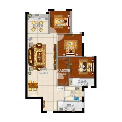 开发区万国公馆3室2厅2卫1厨118.15㎡户型图