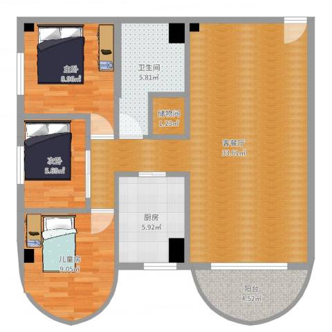 福津大街3室2厅1卫1厨93.00㎡户型图