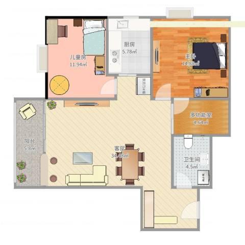 牛街182室1厅1卫1厨103.00㎡户型图