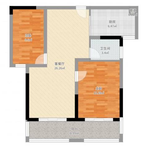 新都国际2室2厅1卫1厨85.00㎡户型图