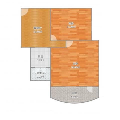 基业花园2室2厅1卫1厨60.00㎡户型图