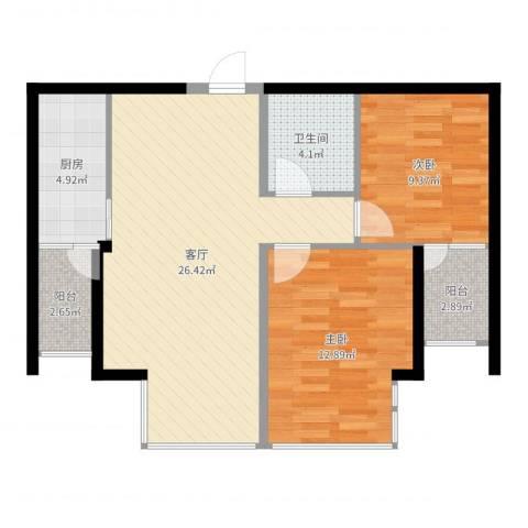 上上城青年社区二期2室1厅1卫1厨79.00㎡户型图