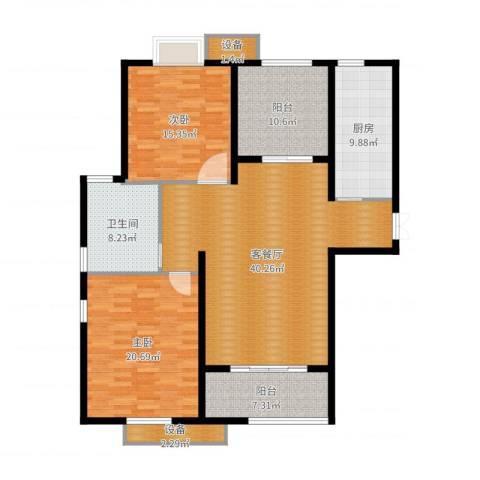 东方苑小区2室2厅1卫1厨145.00㎡户型图