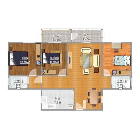 翠前新村3室1厅3卫1厨102.00㎡户型图