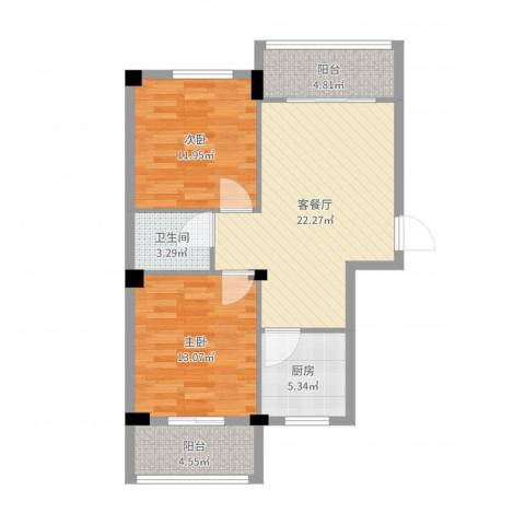 中盛・凤凰假日2室2厅1卫1厨82.00㎡户型图
