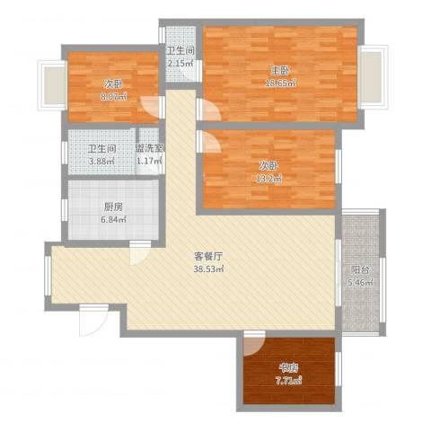 怡和花园4室4厅2卫1厨142.00㎡户型图