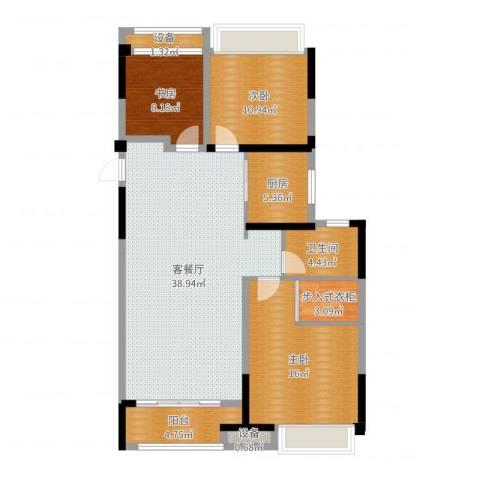 金科天籁城3室2厅1卫1厨117.00㎡户型图