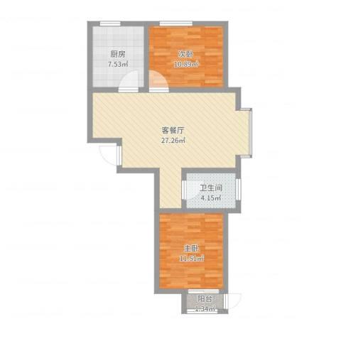 长峰尚海湾2室2厅1卫1厨78.00㎡户型图