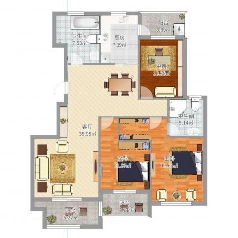 天沁家园3室1厅2卫1厨136.00㎡户型图