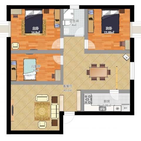 天元花园3室2厅1卫1厨88.00㎡户型图