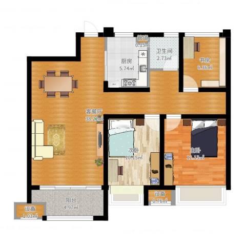 金科天籁城3室2厅1卫1厨103.00㎡户型图