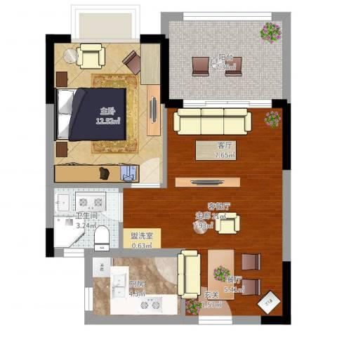 珍珠湾·风情小镇1室2厅1卫1厨61.00㎡户型图