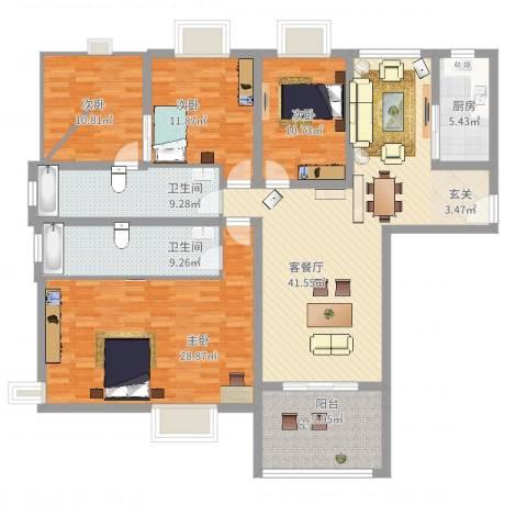 柳青齐鲁园4室2厅2卫1厨197.00㎡户型图