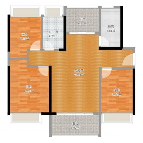 普君新城华府3室2厅1卫1厨96.00㎡户型图