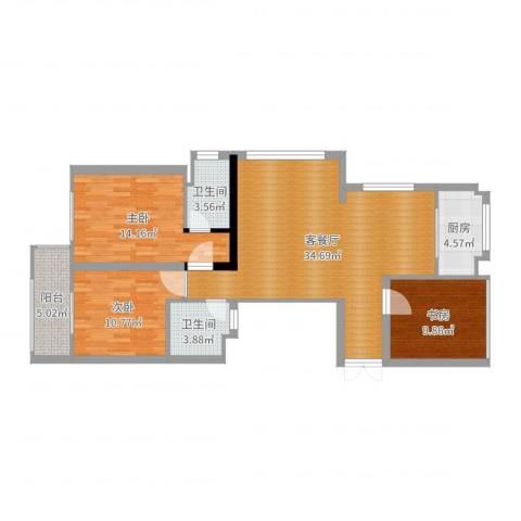 新宏・香榭丽舍3室2厅2卫1厨108.00㎡户型图