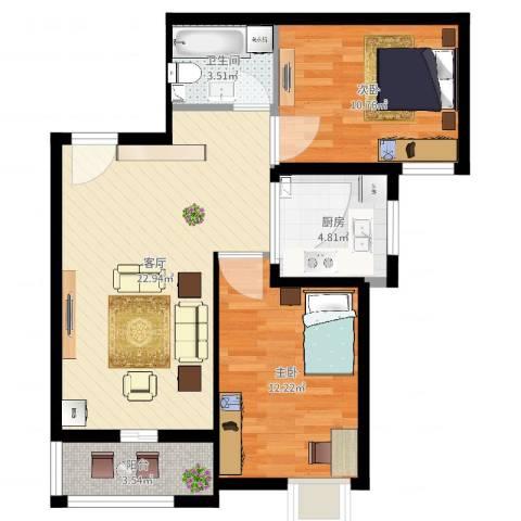 河风雅苑2室1厅1卫1厨72.00㎡户型图