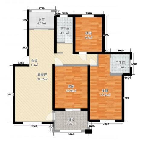 钱湖人家3室2厅2卫1厨118.00㎡户型图