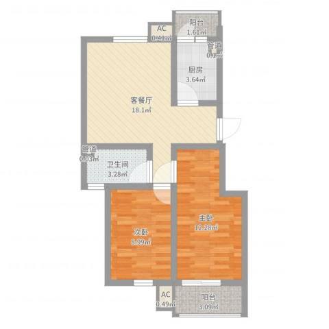 文昌北苑2室2厅1卫1厨65.00㎡户型图