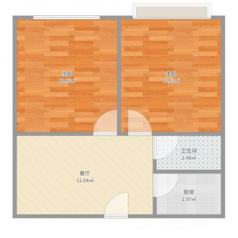 鹏宏苑2室1厅1卫1厨53.00㎡户型图