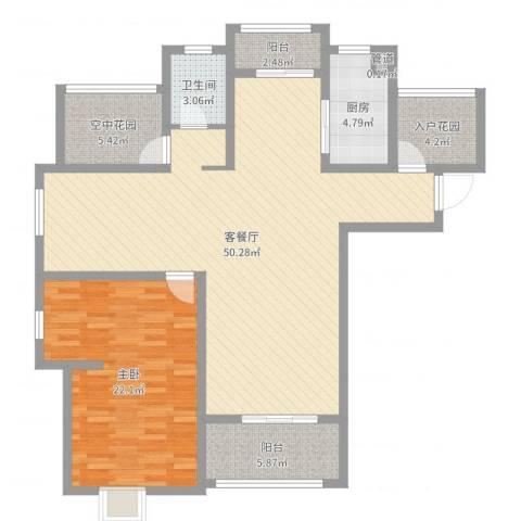 海亮悦府1室2厅1卫1厨123.00㎡户型图