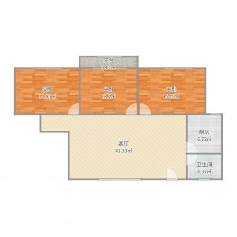虹华大楼3室1厅1卫1厨123.00㎡户型图