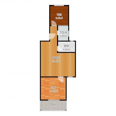 虹北公寓2室2厅1卫1厨83.00㎡户型图