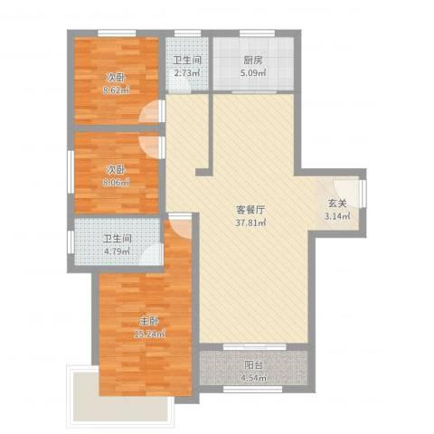 御融公馆3室2厅2卫1厨109.00㎡户型图