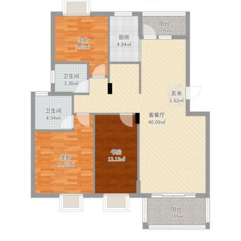 维也纳花园3室2厅2卫1厨123.00㎡户型图