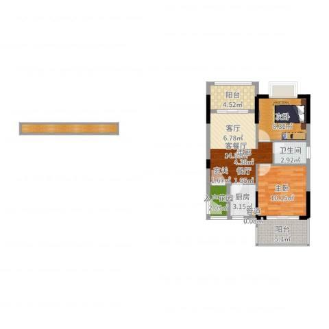 珍珠湾·风情小镇2室2厅1卫1厨68.00㎡户型图