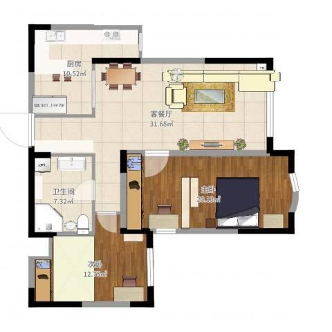 小平岛E组团2室2厅1卫1厨103.00㎡户型图