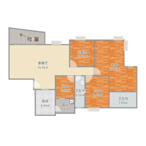 聚福豪苑4室2厅2卫1厨132.97㎡户型图