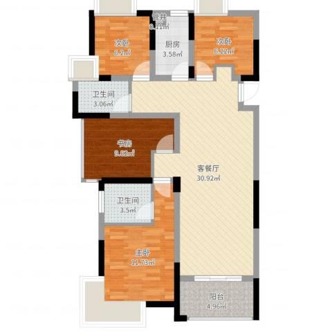 南湖学府4室2厅2卫1厨99.00㎡户型图