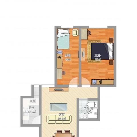晓港湾2室1厅1卫1厨64.00㎡户型图