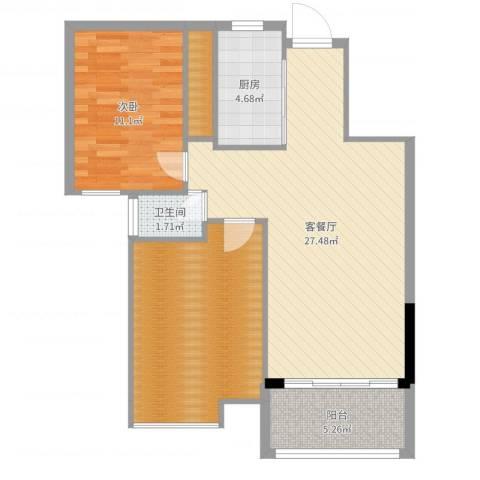 金地中央美域1室2厅1卫1厨84.00㎡户型图