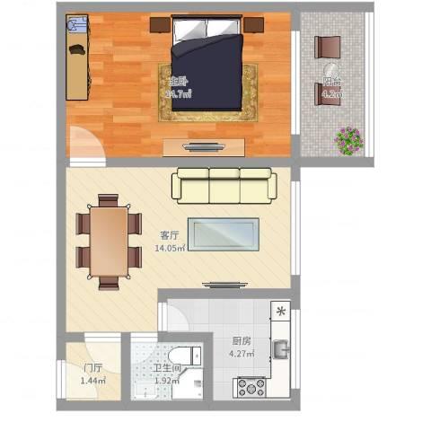 双榆树南里1室1厅1卫1厨51.00㎡户型图