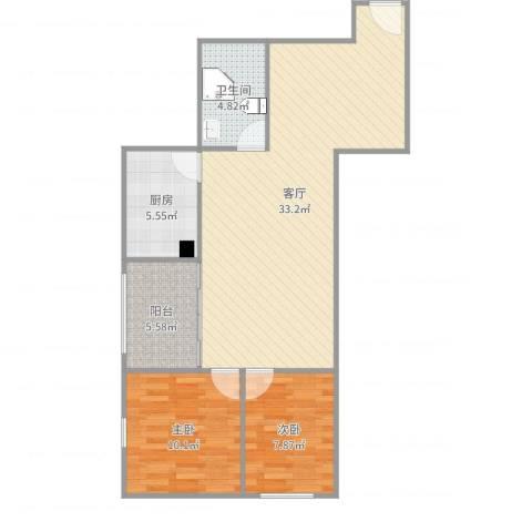 华天国际广场2室1厅1卫1厨84.00㎡户型图