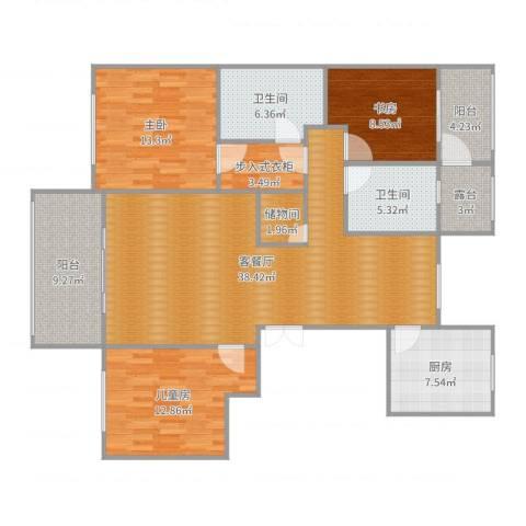 曙光之城3室2厅2卫1厨143.00㎡户型图