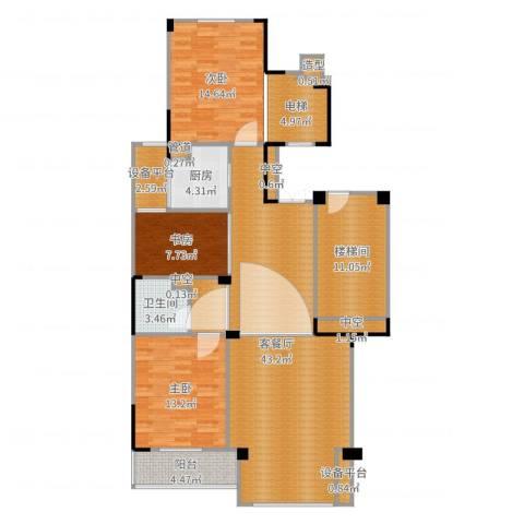 中海篁外山庄3室2厅1卫1厨141.00㎡户型图
