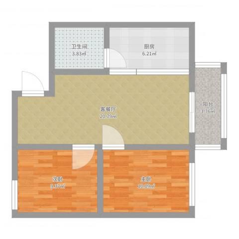 黎明之家两居室北面71平2室2厅1卫1厨68.00㎡户型图