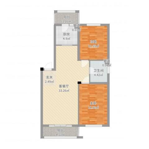 保利海棠花园2室2厅1卫1厨95.00㎡户型图
