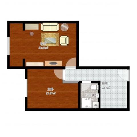 虹连大楼1室1厅1卫1厨60.00㎡户型图